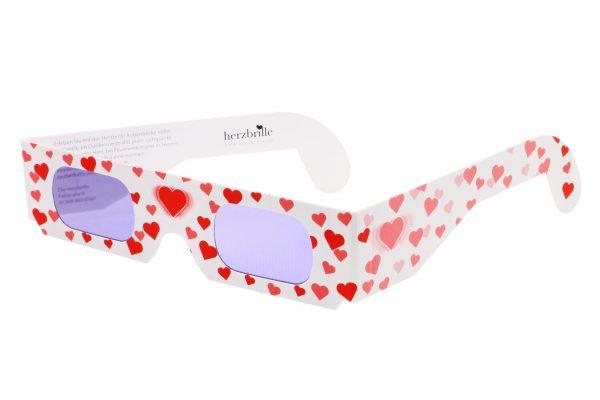 Herzbrille Modell Liebesrausch in weiß mit rosa Herzen und Herz-Effektfilter