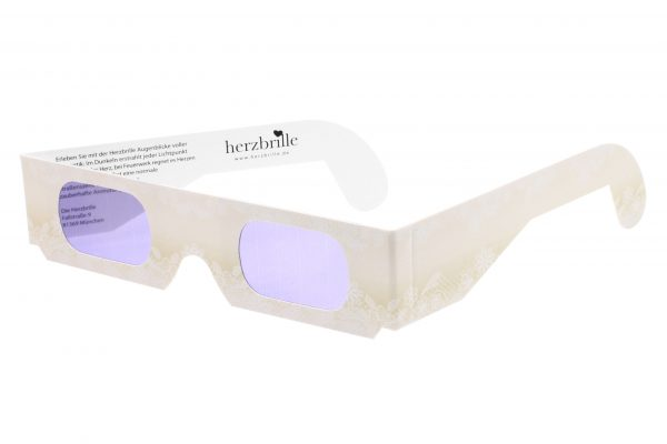 Herzbrille Champagner mit dezentem floralen Spitzenmuster und unserem wunderschönen Herz-Effekt