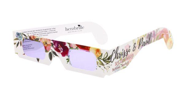 Produktfoto der Herzbrille mit individuellem Aufdruck